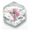 Glass Lamp Bead 15mm Crystal/Silver With 2 Pink Flower
